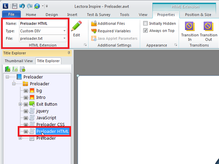 Importing Preloader HTML file