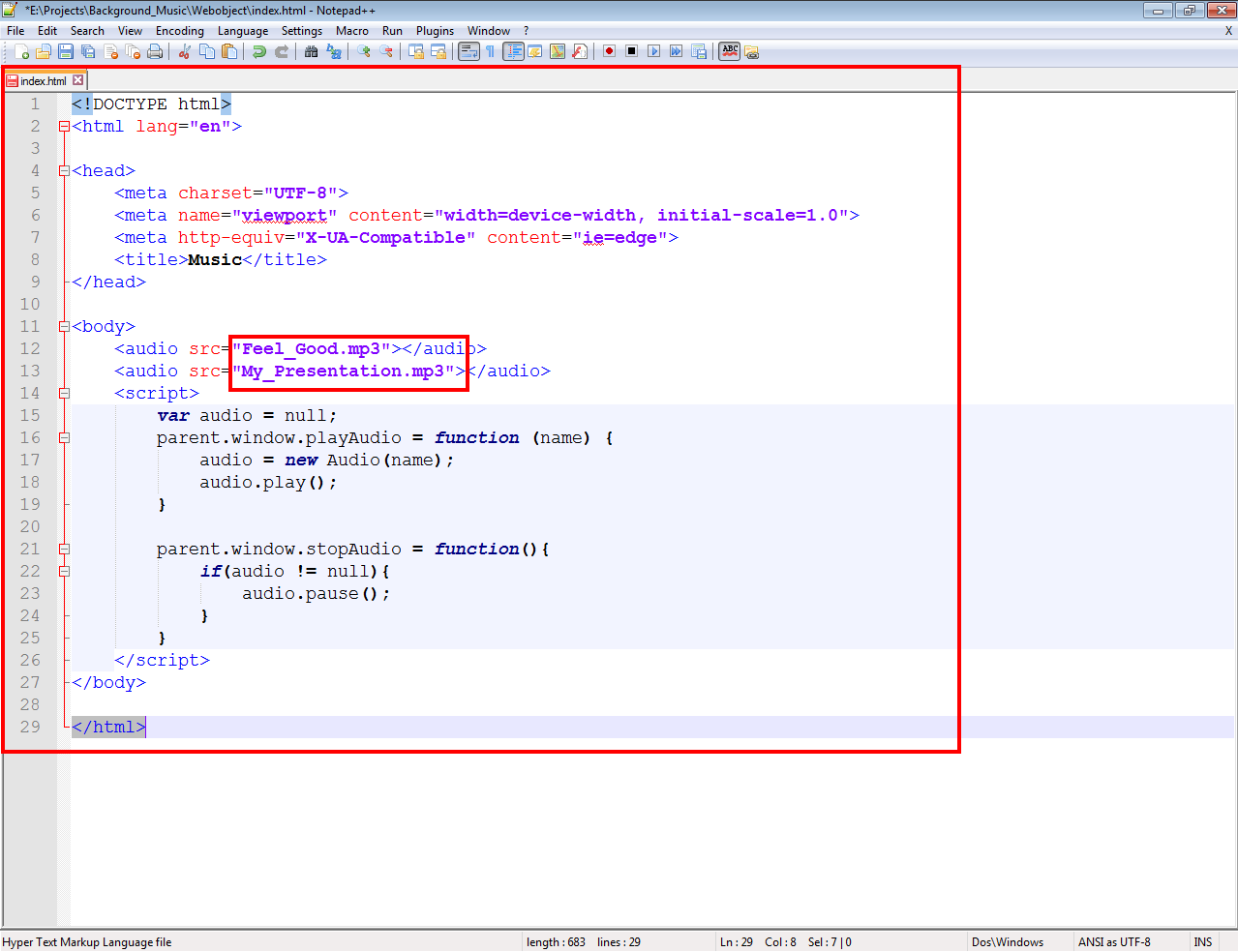 reated a file called index.html in text editor