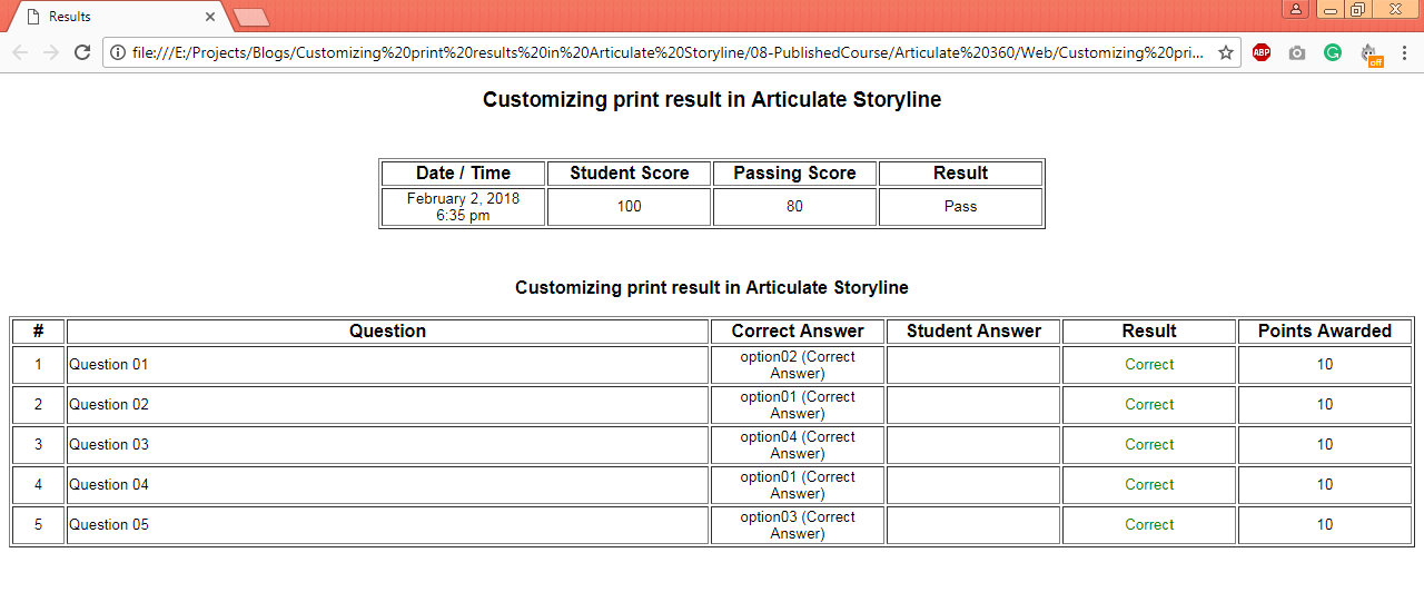 Customizing print result screen in Articulate Storyline_001