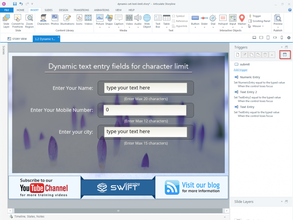 How to set Character limit for a dynamic text entry field in Articulate Storyline-step02