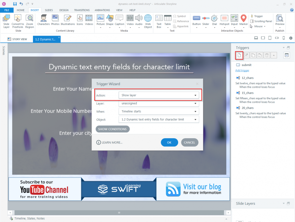 How to set Character limit for a dynamic text entry field in Articulate Storyline-step05