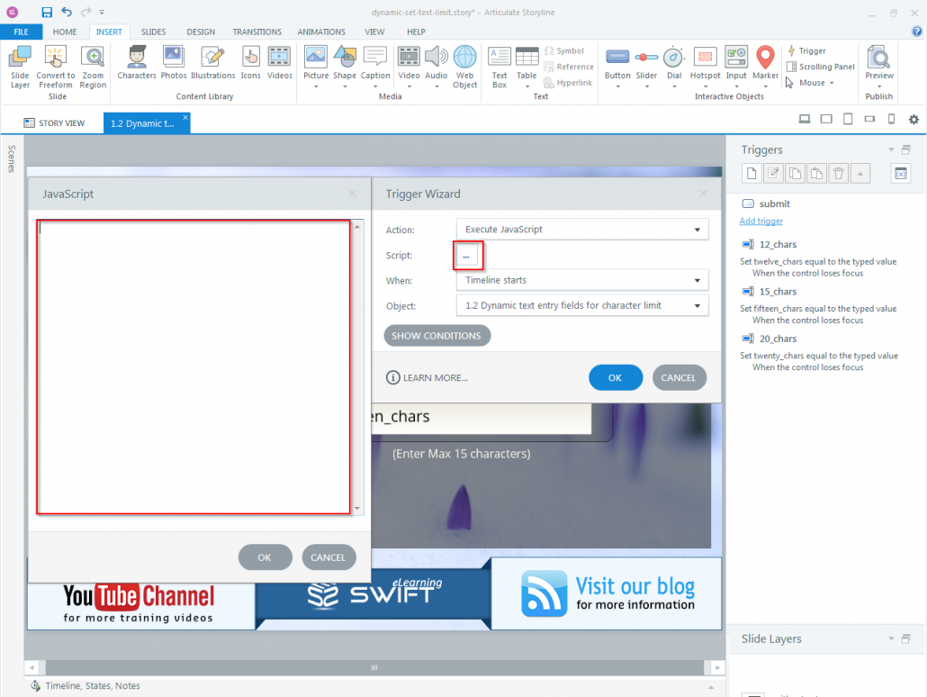 How to set Character limit for a dynamic text entry field in Articulate Storyline-step07
