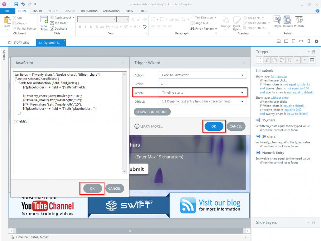 How to set Character limit for a dynamic text entry field in Articulate Storyline-step08