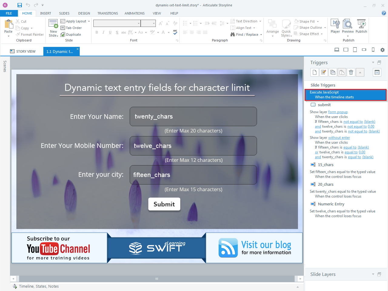 How to set Character limit for a dynamic text entry field in Articulate Storyline-step09