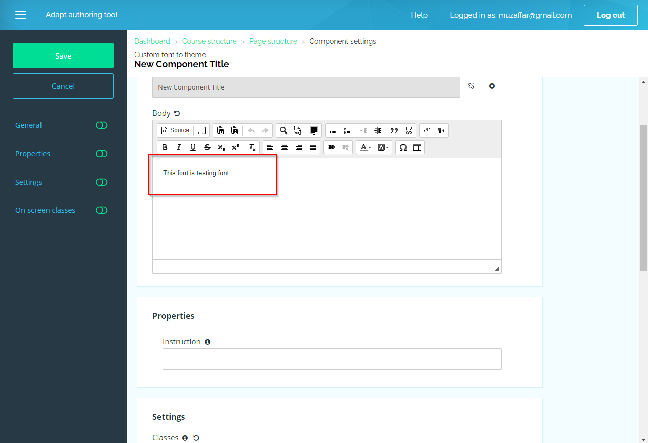 adding custom font to theme - adapt learning tool - 09