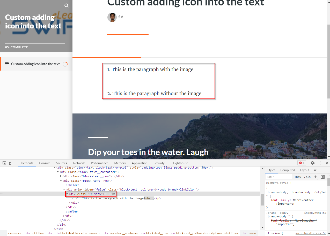 adding custom image into the text - articulate rise 08