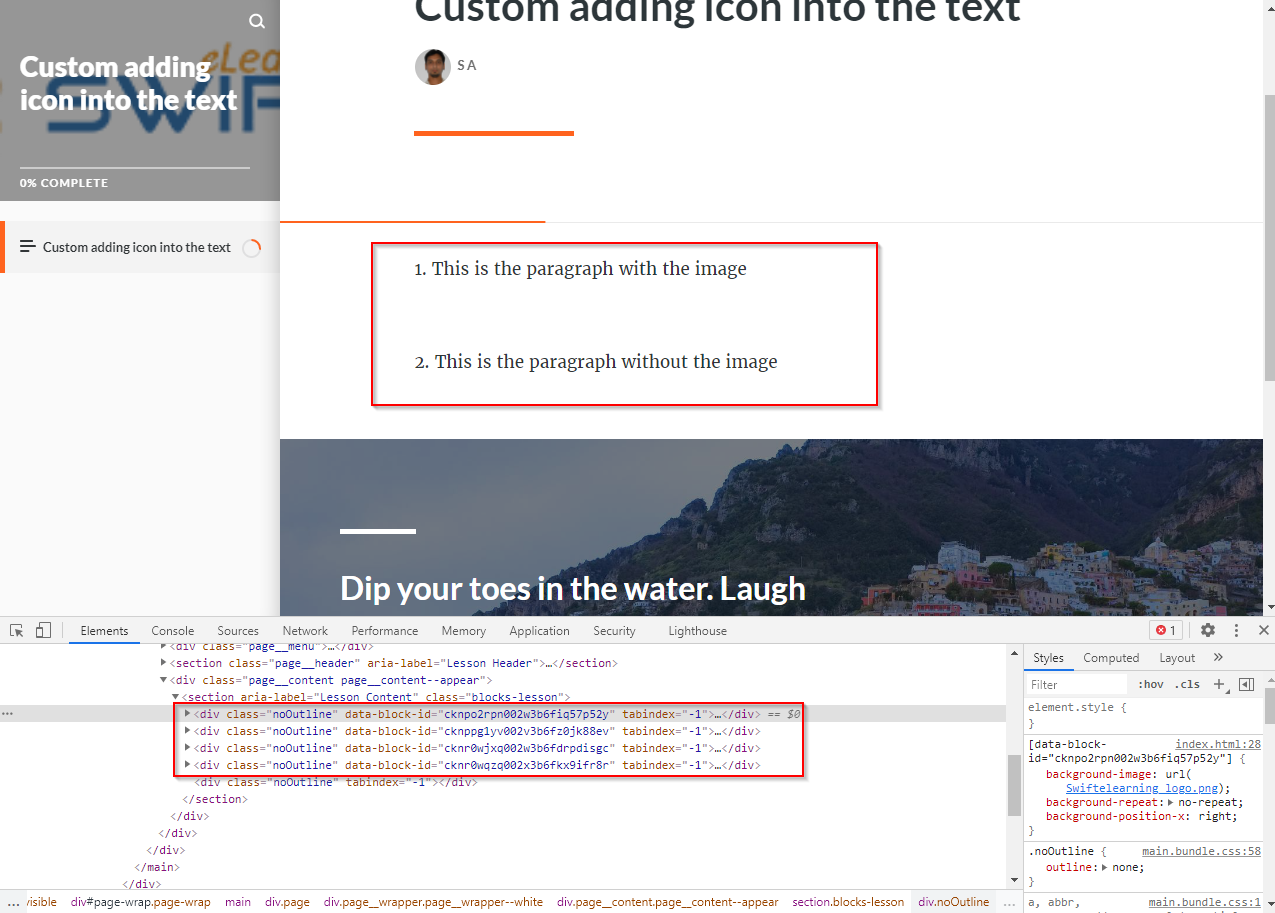 adding custom image into the text - articulate rise 09