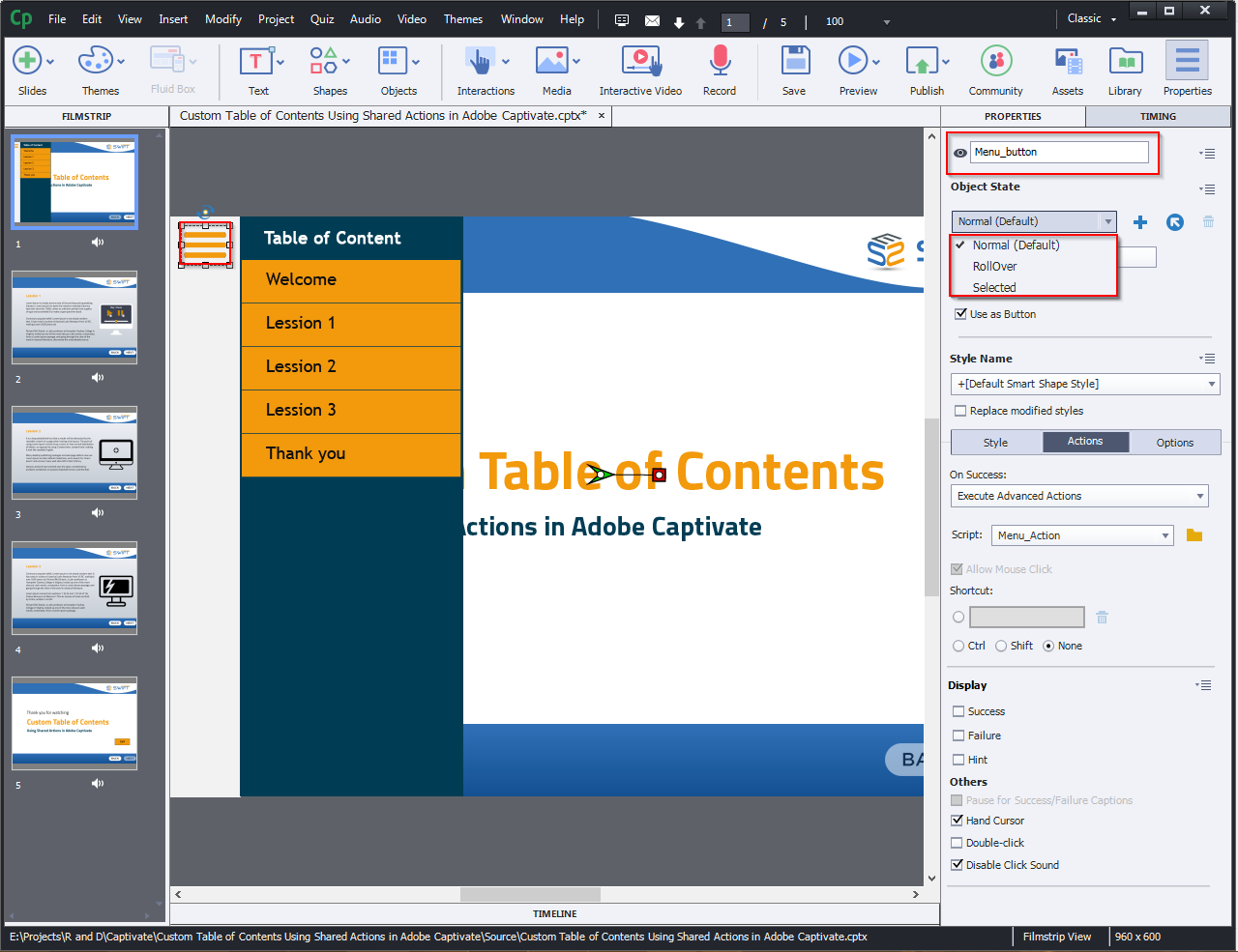 Contents Using Shared Actions in Adobe Captivate 2019 1