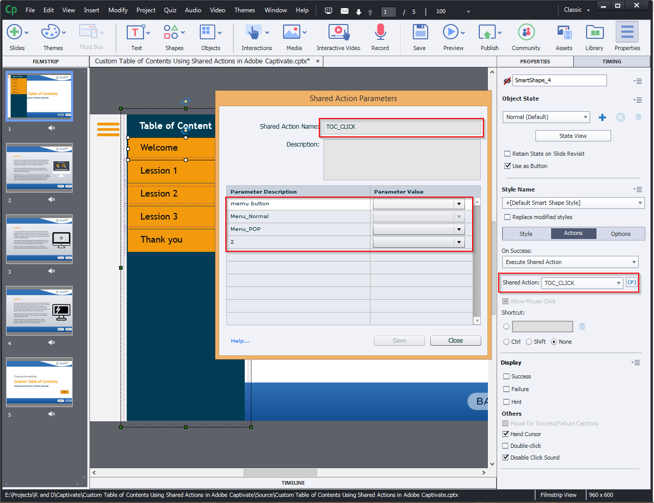 Contents Using Shared Actions in Adobe Captivate 2019 10