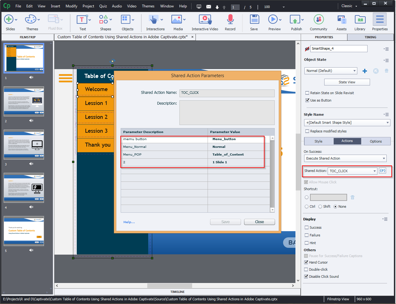 Contents Using Shared Actions in Adobe Captivate 2019 10a