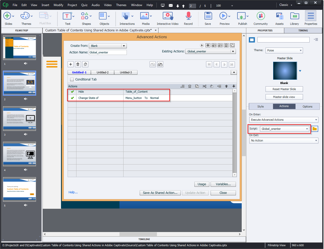 Contents Using Shared Actions in Adobe Captivate 2019 12