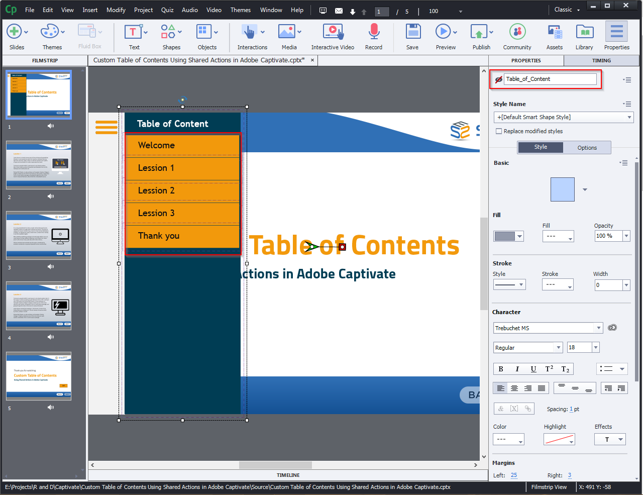 Contents Using Shared Actions in Adobe Captivate 2019 2