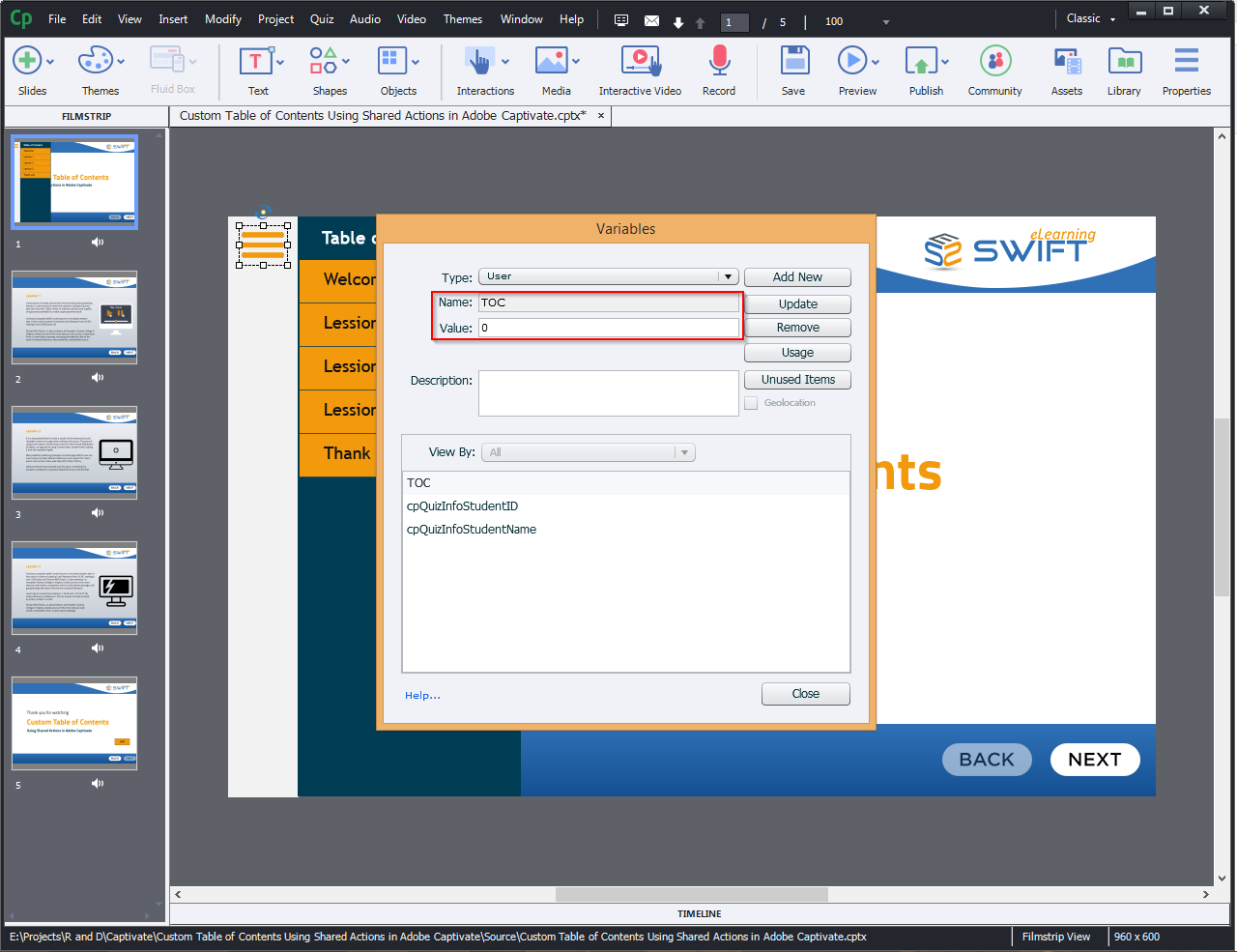 Contents Using Shared Actions in Adobe Captivate 2019 3