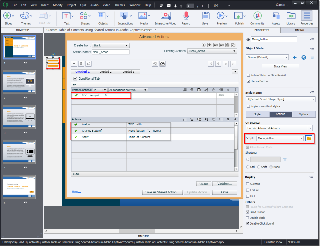 Contents Using Shared Actions in Adobe Captivate 2019 4