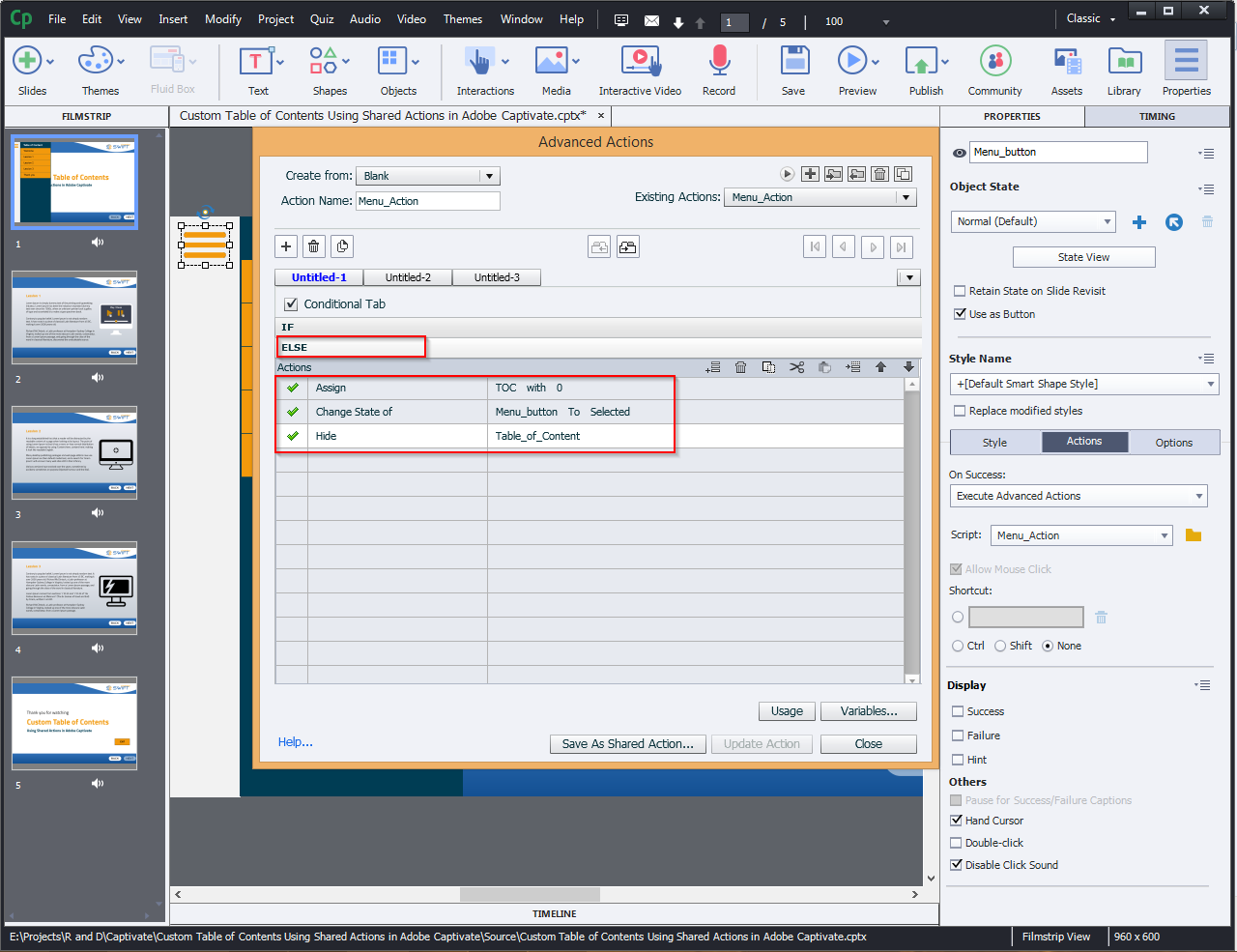 Contents Using Shared Actions in Adobe Captivate 2019 4a