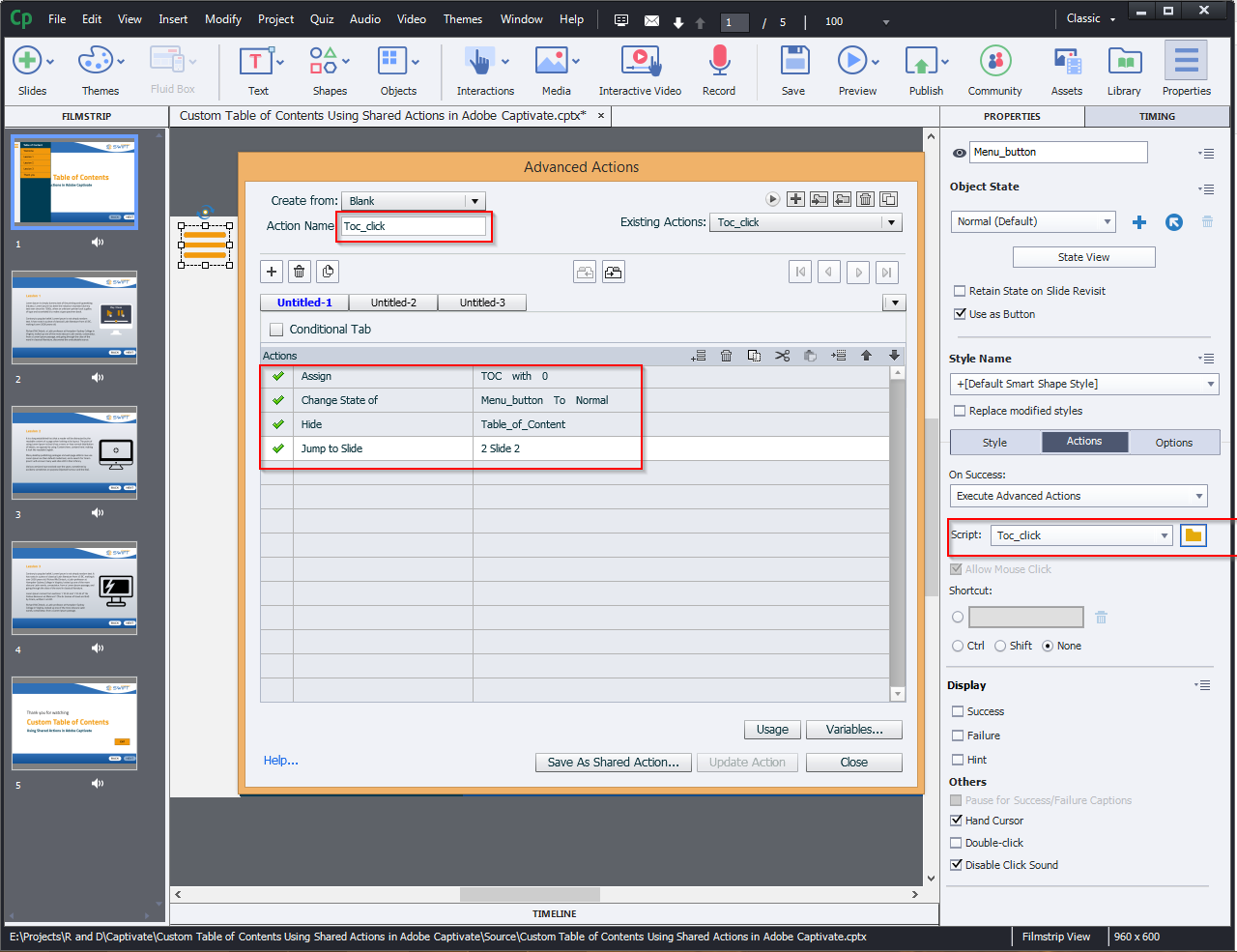 Contents Using Shared Actions in Adobe Captivate 2019 5