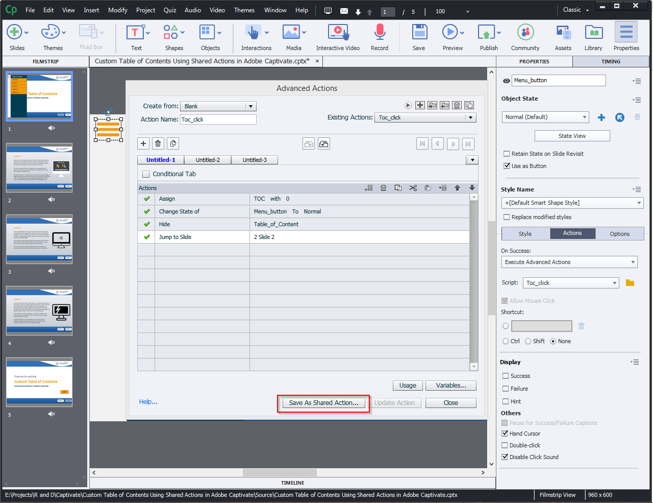 Contents Using Shared Actions in Adobe Captivate 2019 6