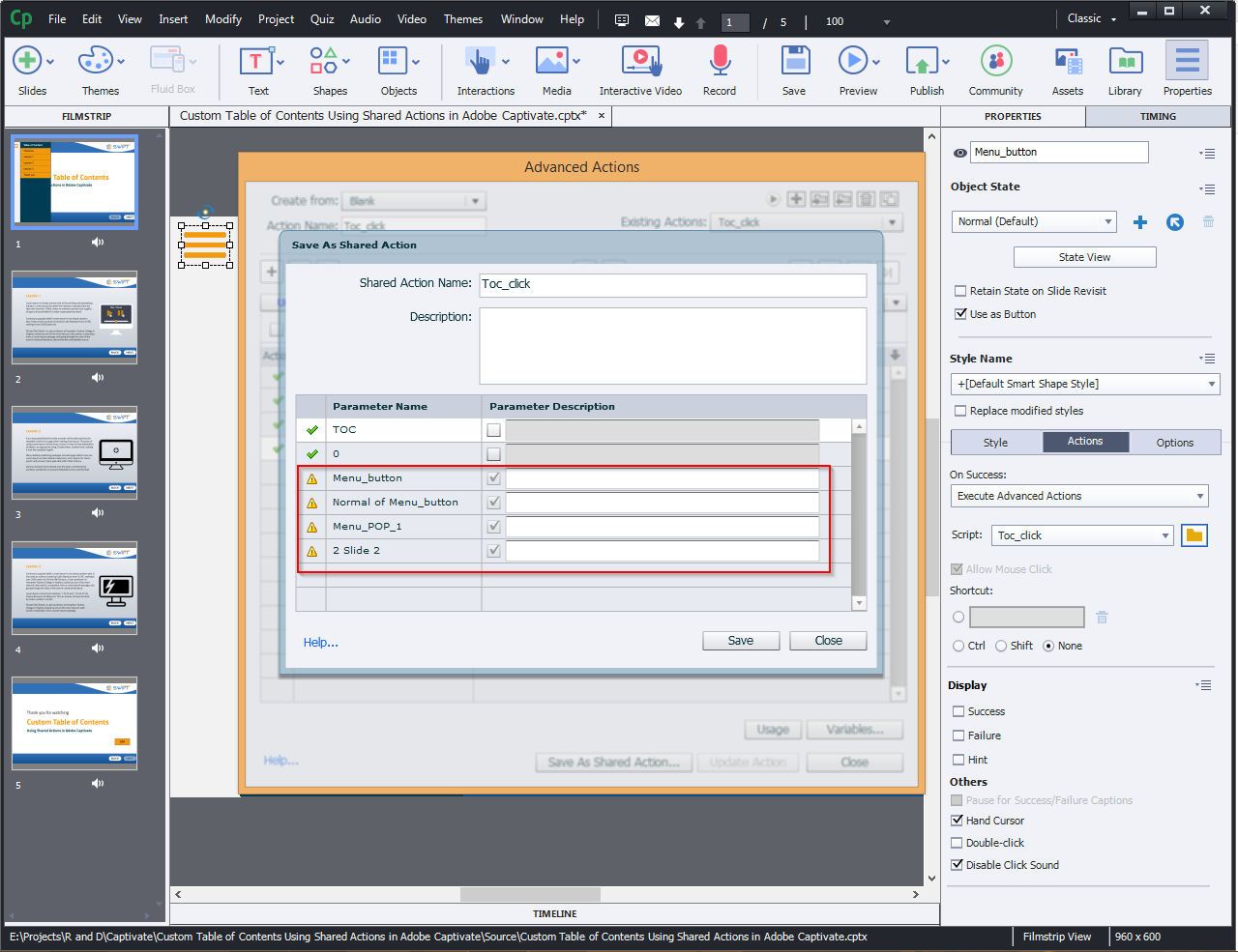 Contents Using Shared Actions in Adobe Captivate 2019 7