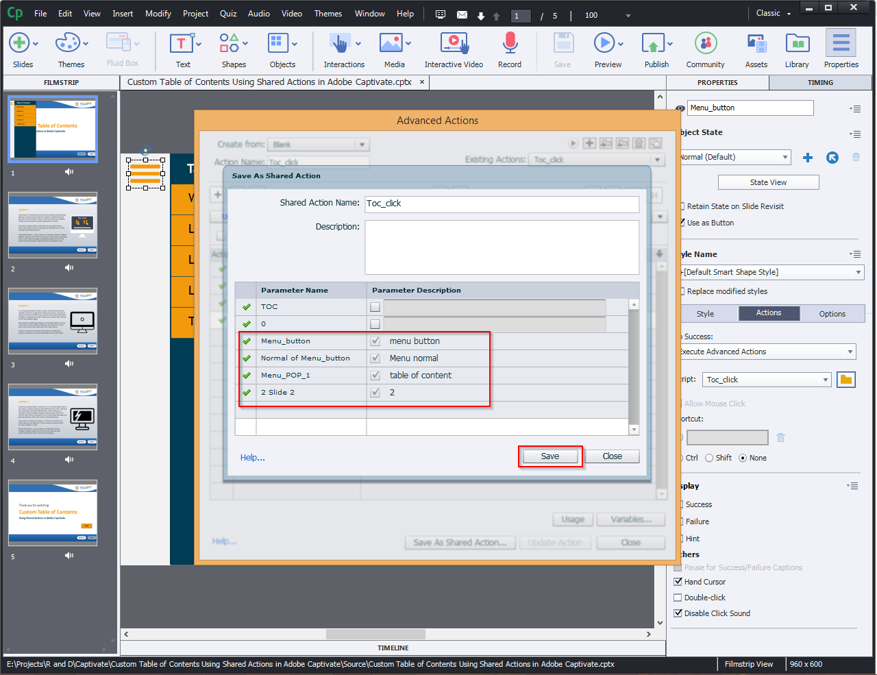 Contents Using Shared Actions in Adobe Captivate 2019 8