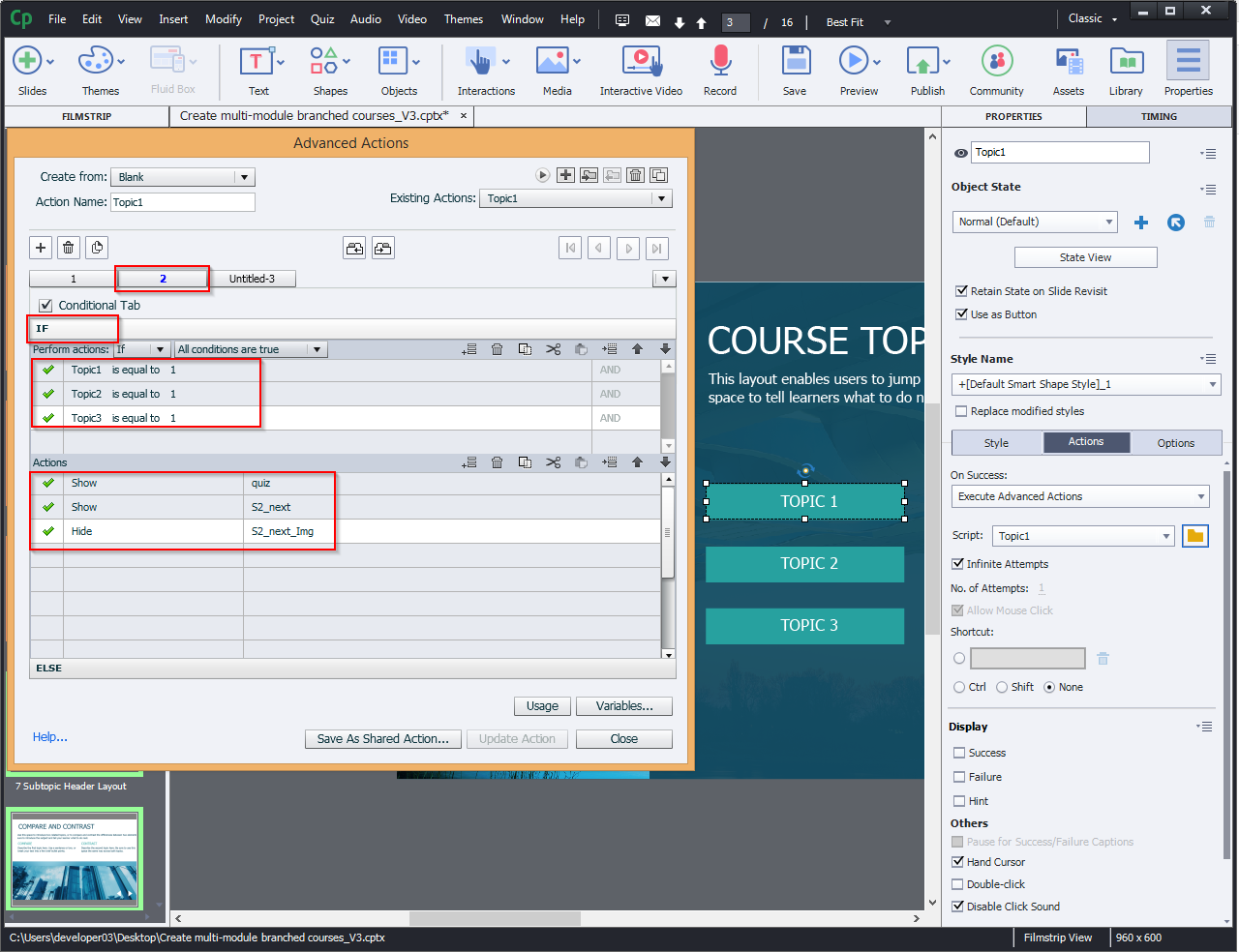 Create multi-module branched courses 10.1