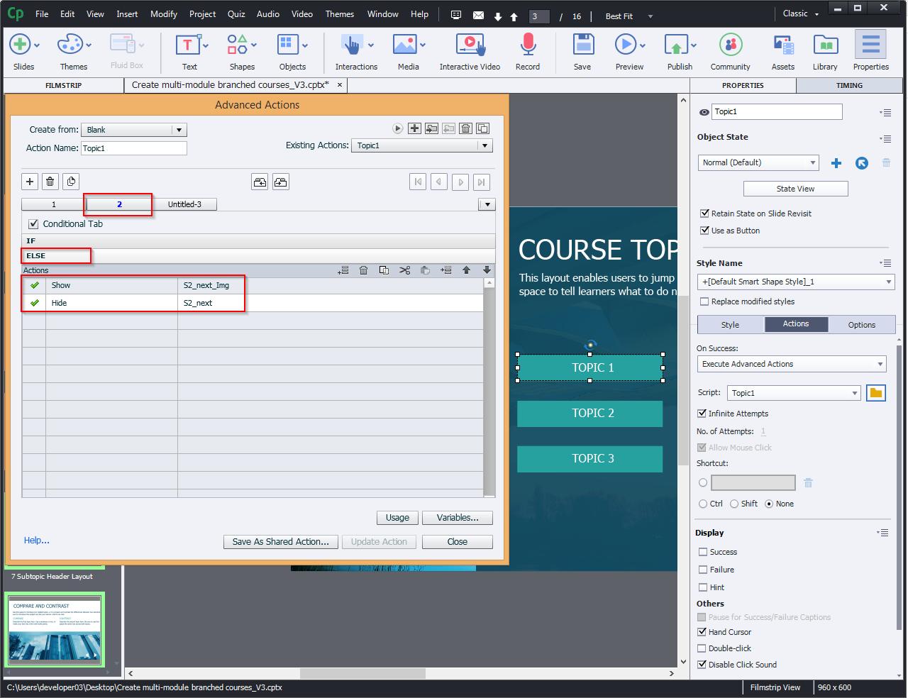 Create multi-module branched courses 10.2