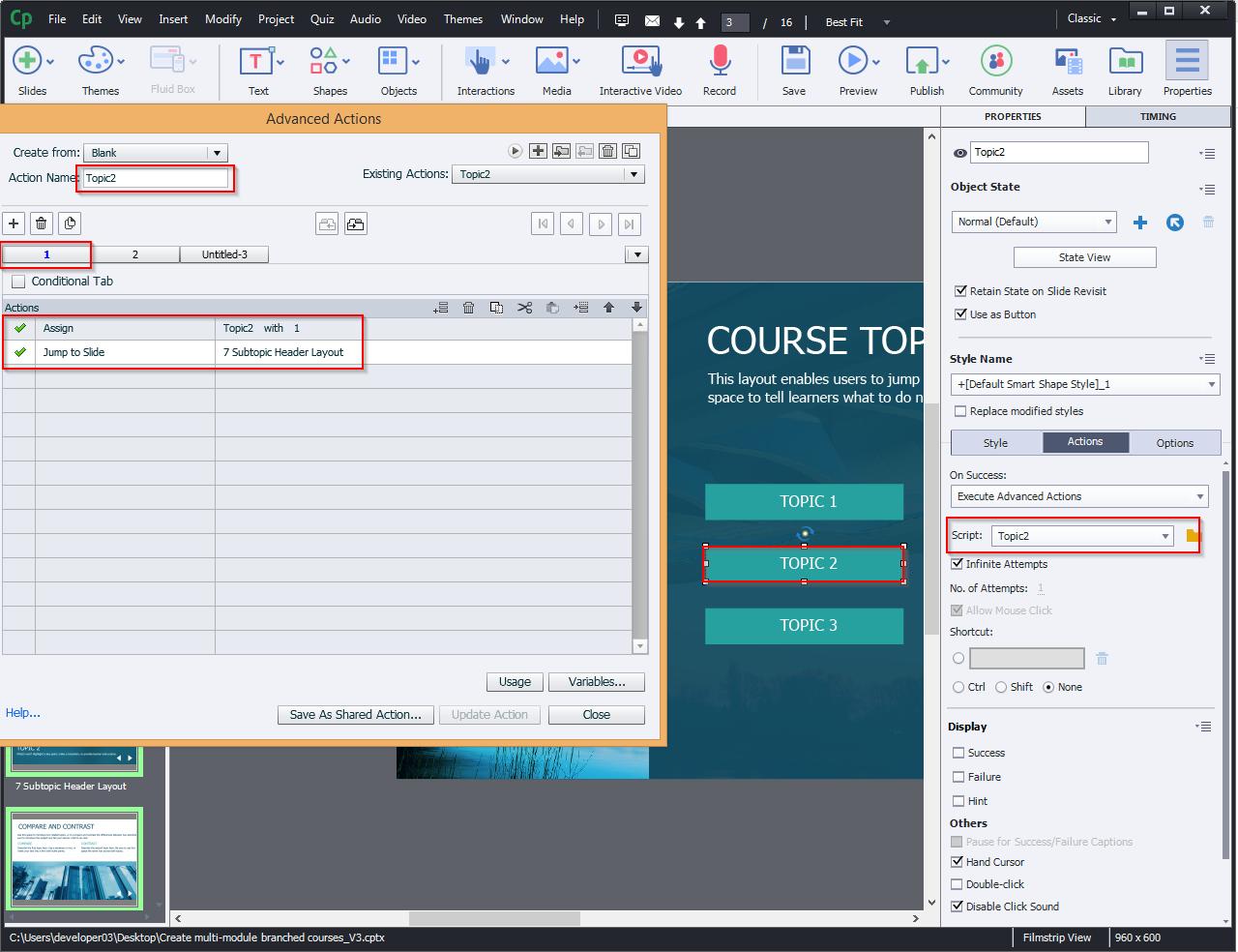 Create multi-module branched courses 10.3