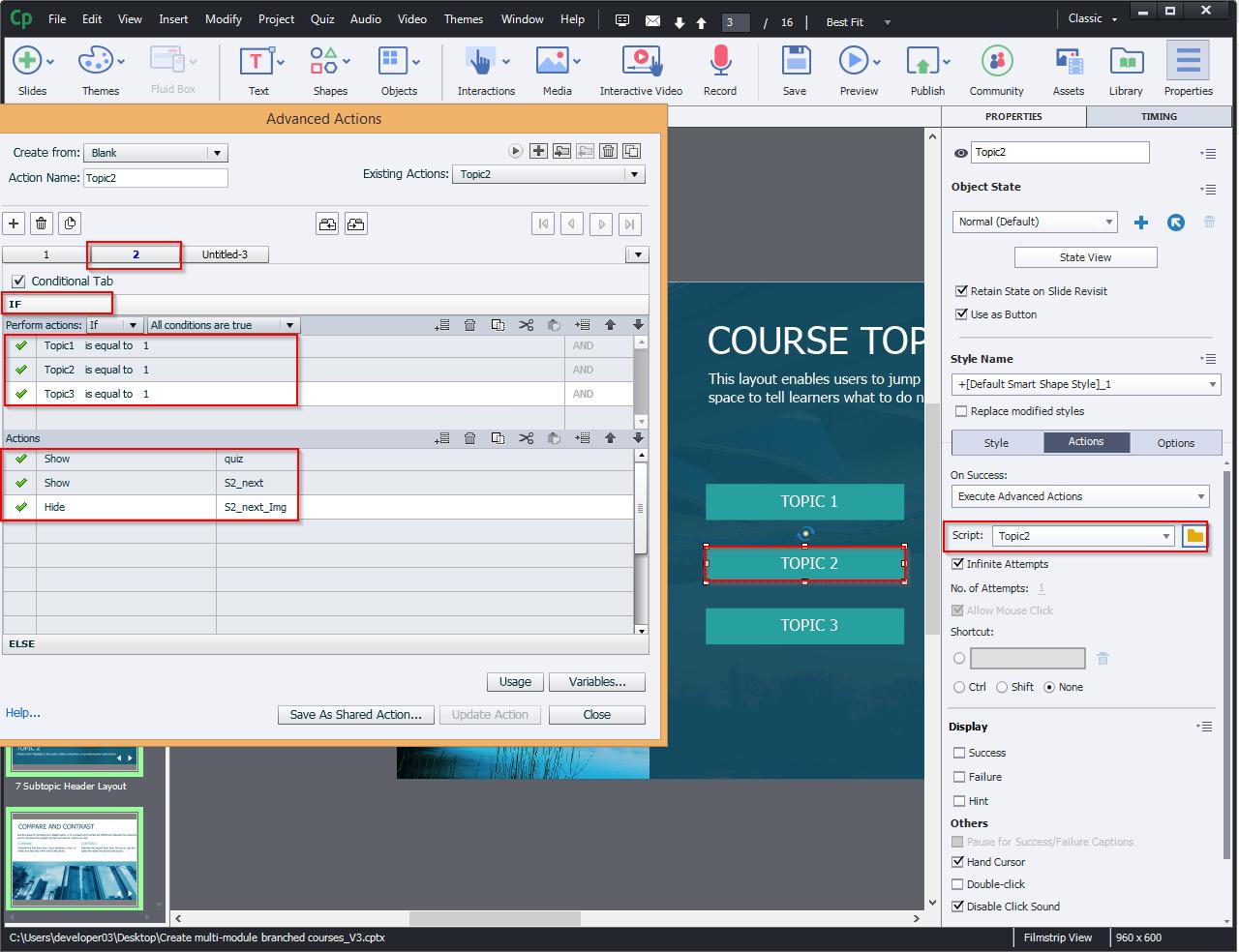 Create multi-module branched courses 10.4