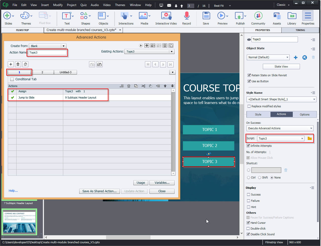 Create multi-module branched courses 10.6