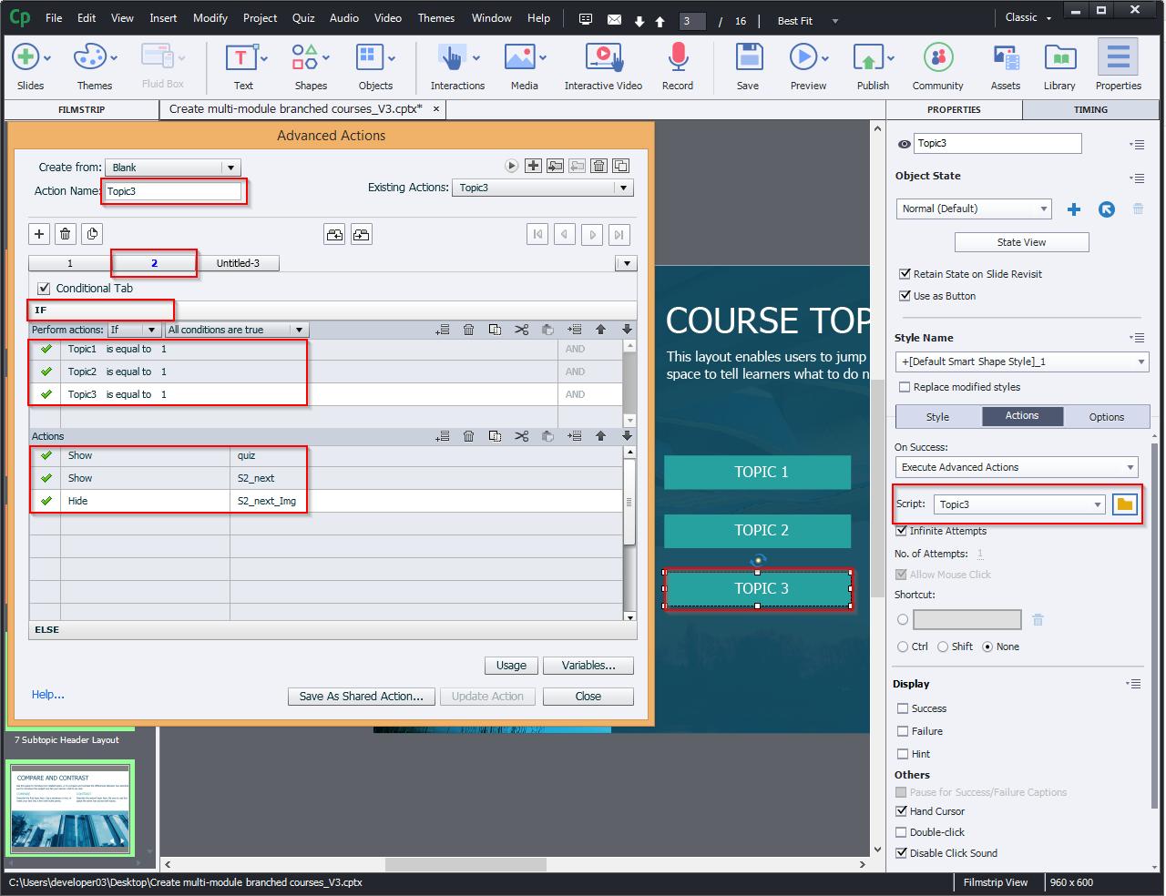 Create multi-module branched courses 10.7