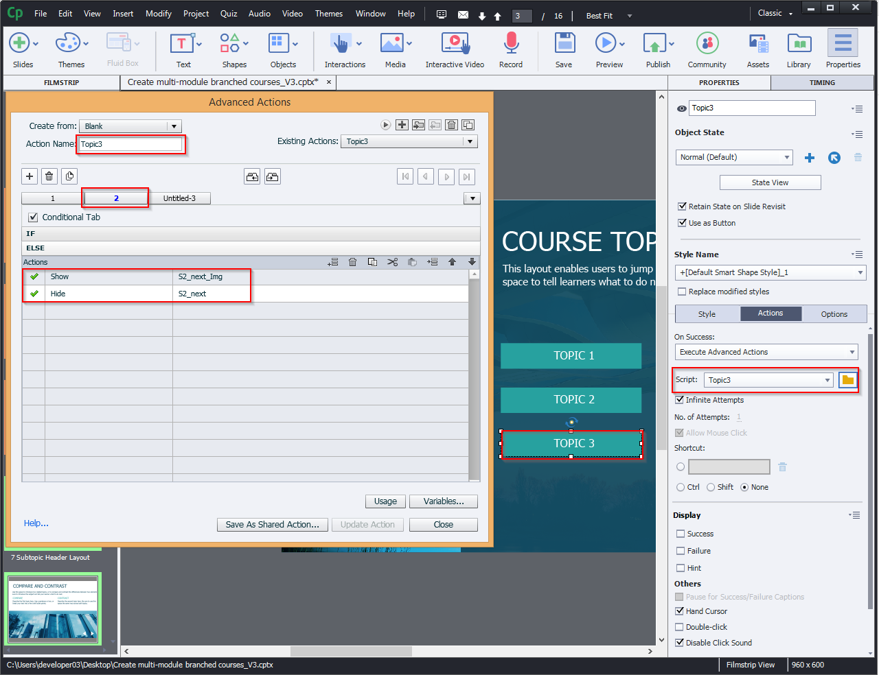 Create multi-module branched courses 10.8