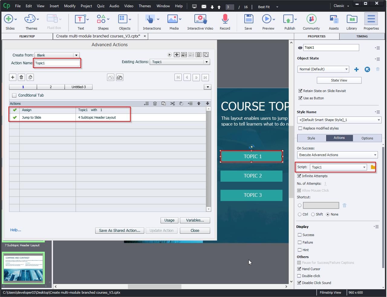Create multi-module branched courses 10