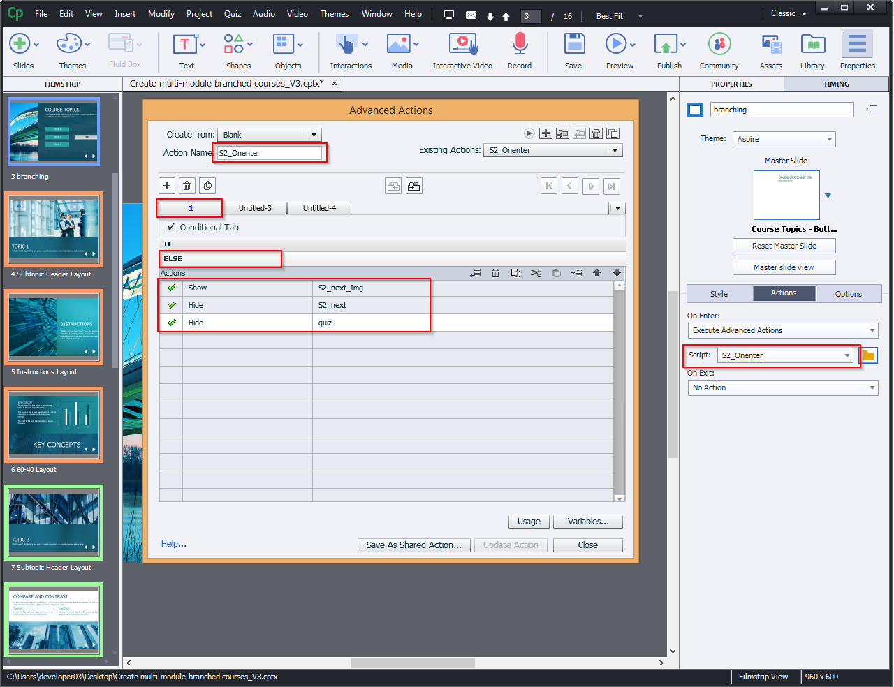 Create multi-module branched courses 11.1