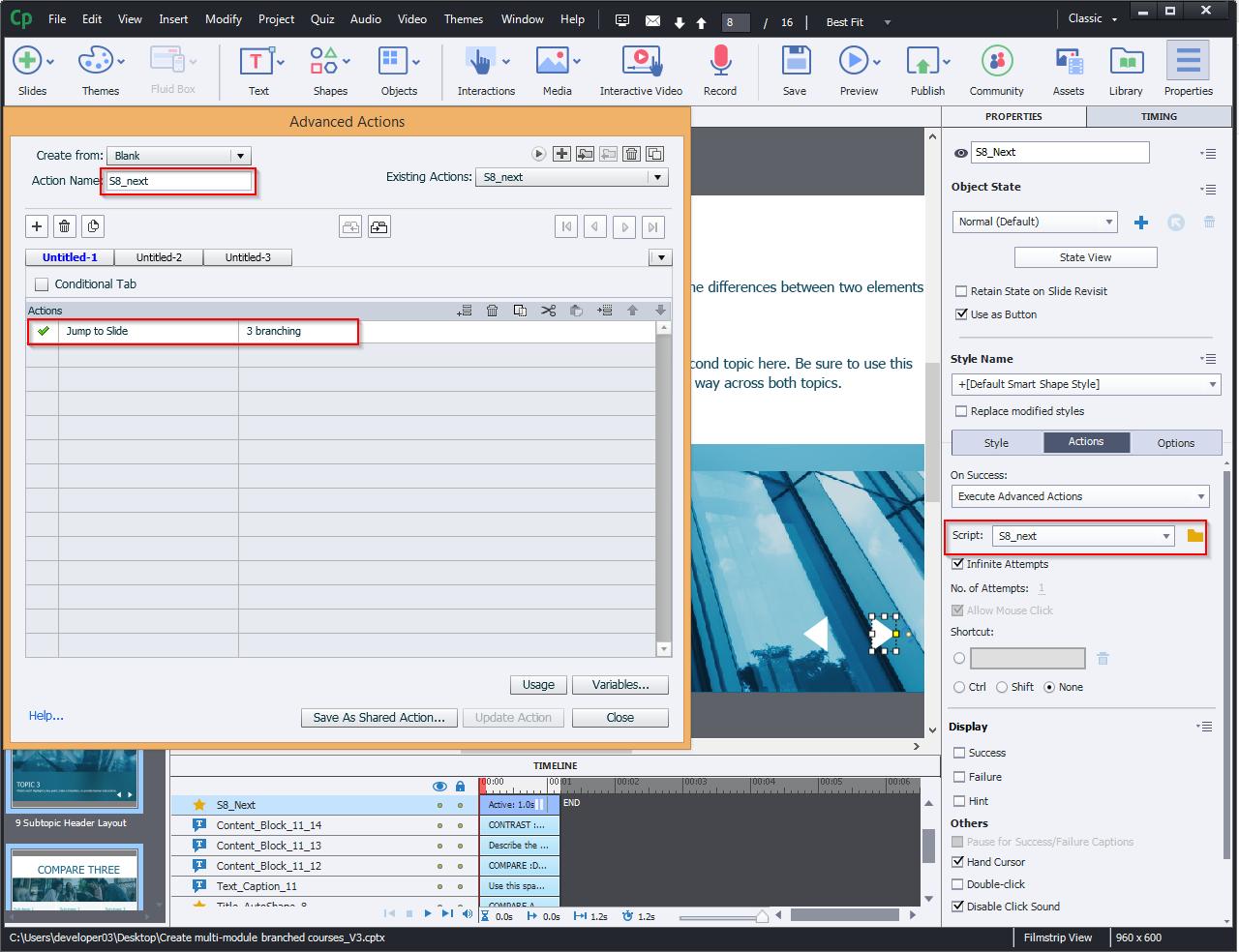 Create multi-module branched courses 12.1