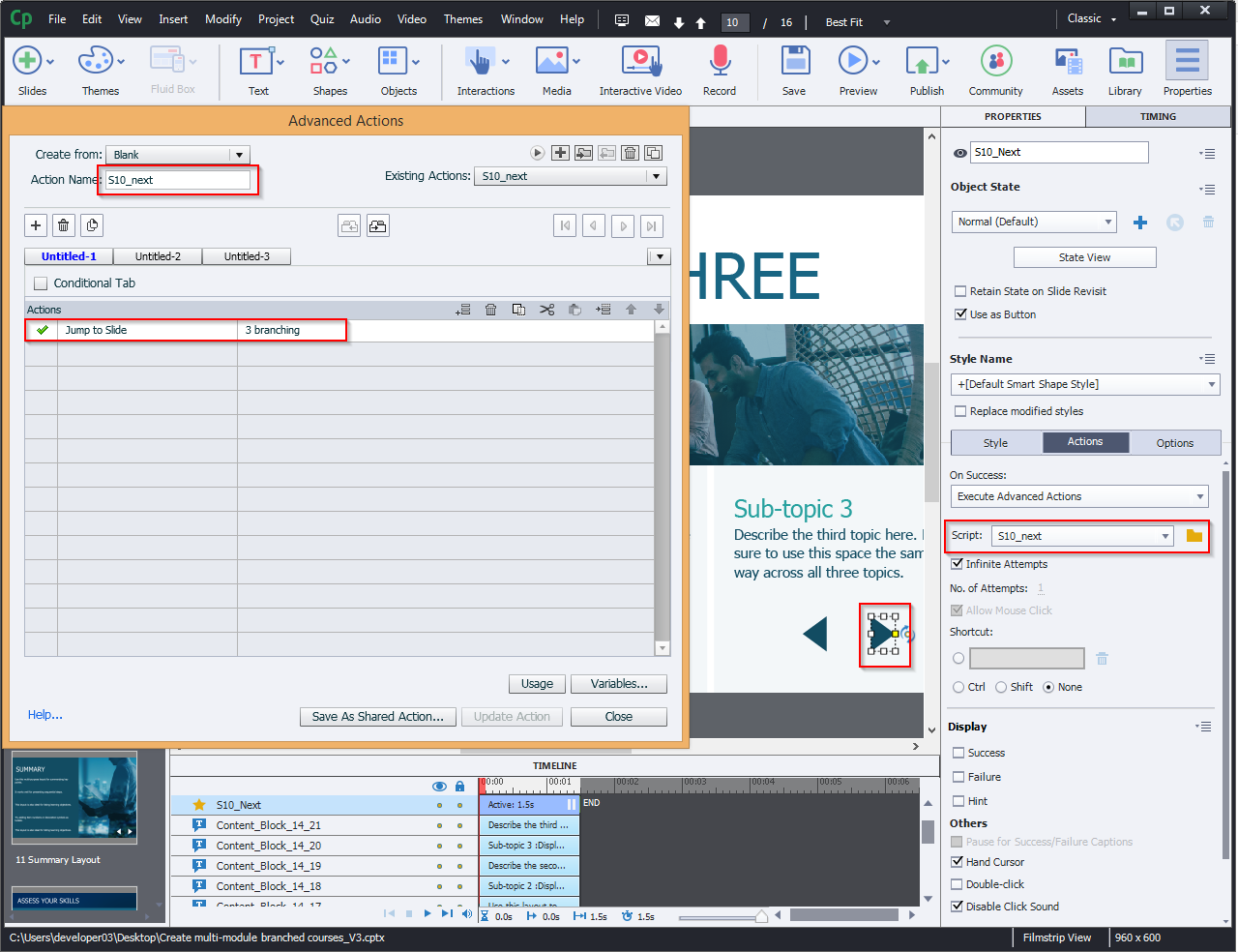 Create multi-module branched courses 12.2