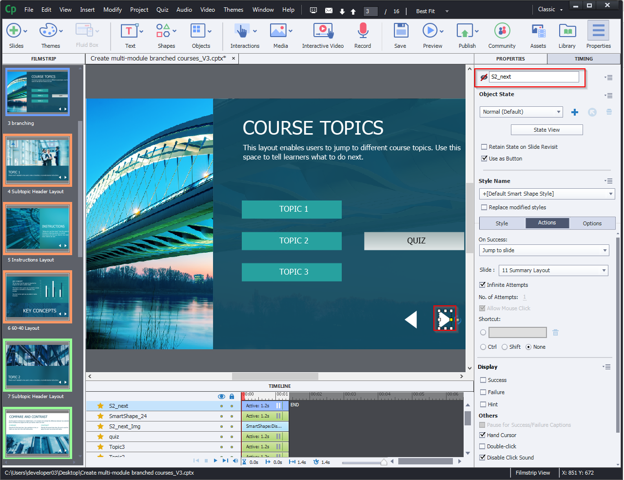Create multi-module branched courses 7